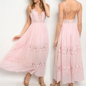 Boho Pink Lace Detailed maxi Dress